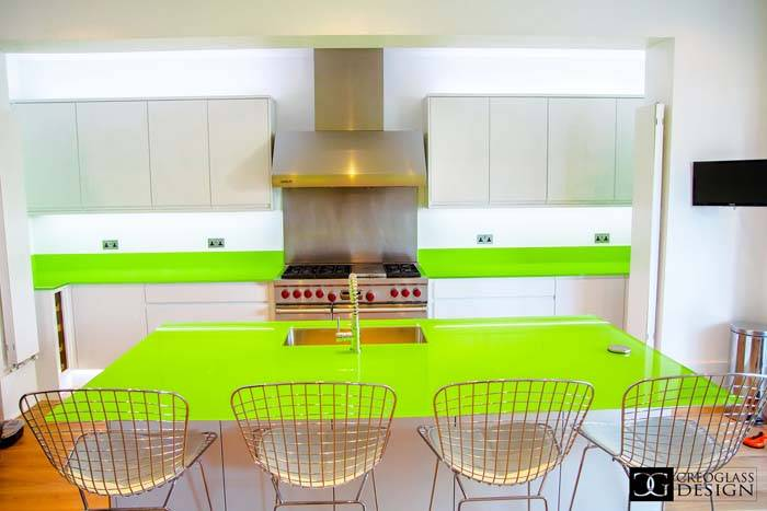 glossy lime green glass kitchen worktop