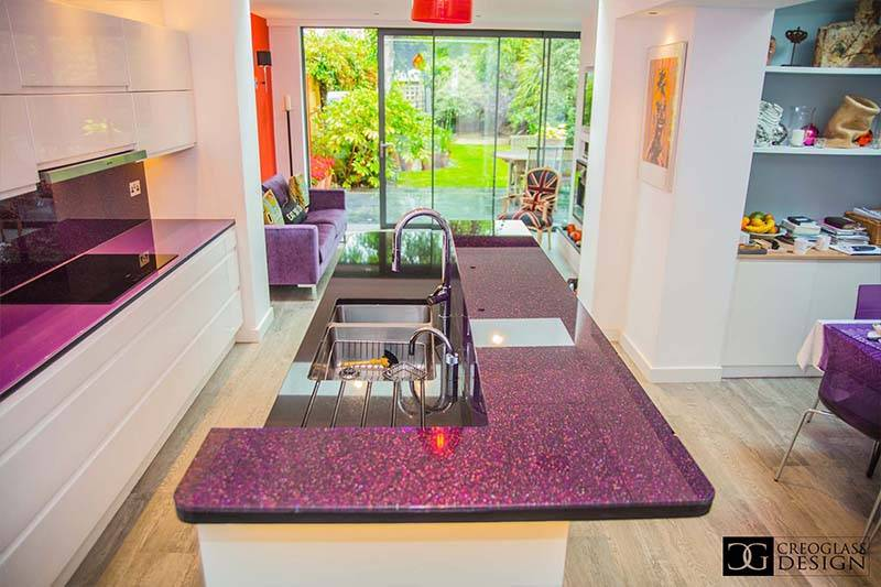 luxury collection glass purple worktop