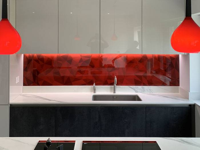 red printed abstract splashback