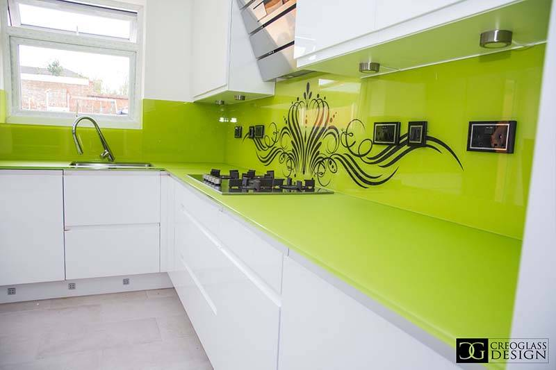 scratch resistant lime green glass kitchen worktop
