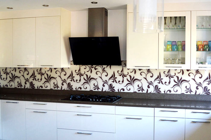 Brown Floral Patterned Splashback