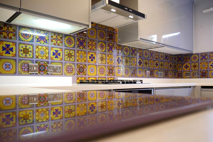 Yellow Tile Printed Pattern Splashback