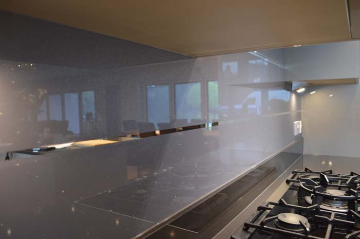 Cool Grey Striped Mirror Splashback