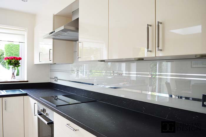 Grey Striped Mirror Splashback (Project 1)