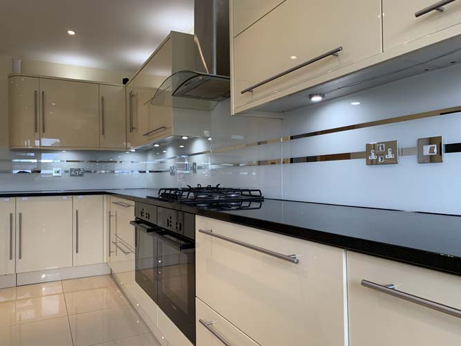 Grey Striped Mirror Splashback (Project 4)