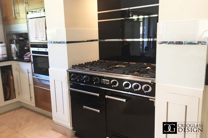 Jet Black Striped Mirror Splashback (Project 2)