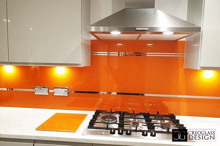 Pure Orange Striped Mirror Splashback