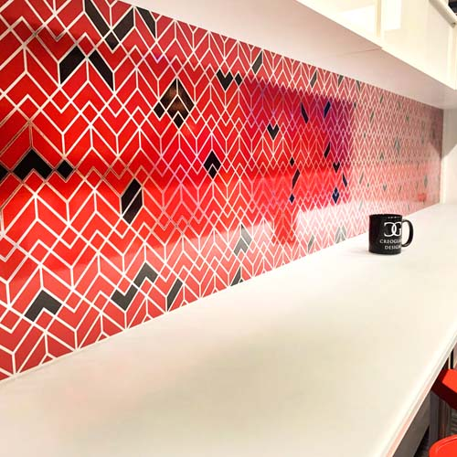 Red and Black Patterned Splashback