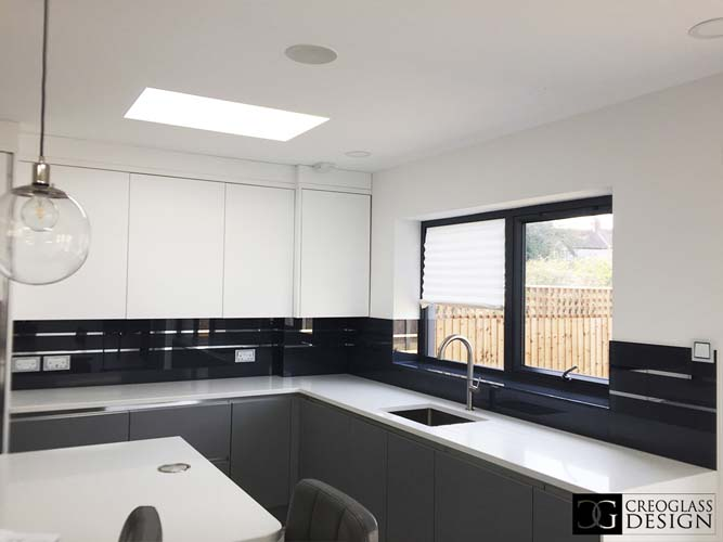 Thunder Grey Striped Mirror Splashback