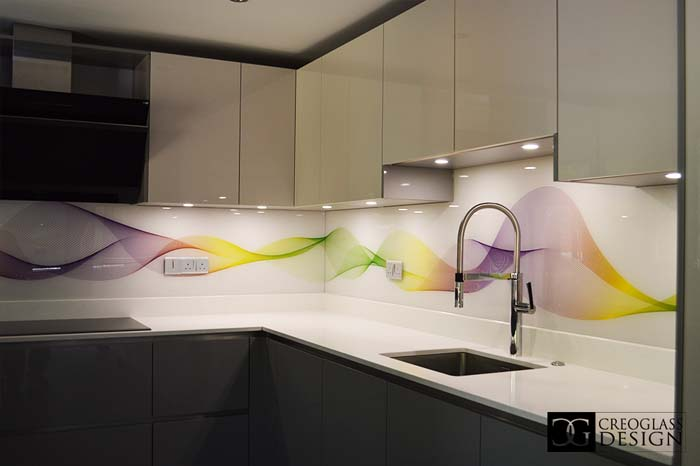 Yellow, Green and Purple Wave Printed Splashback
