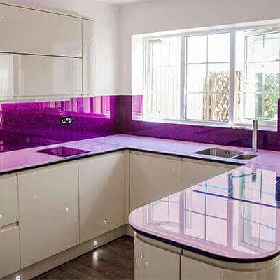Glossy Coloured Glass Worktops